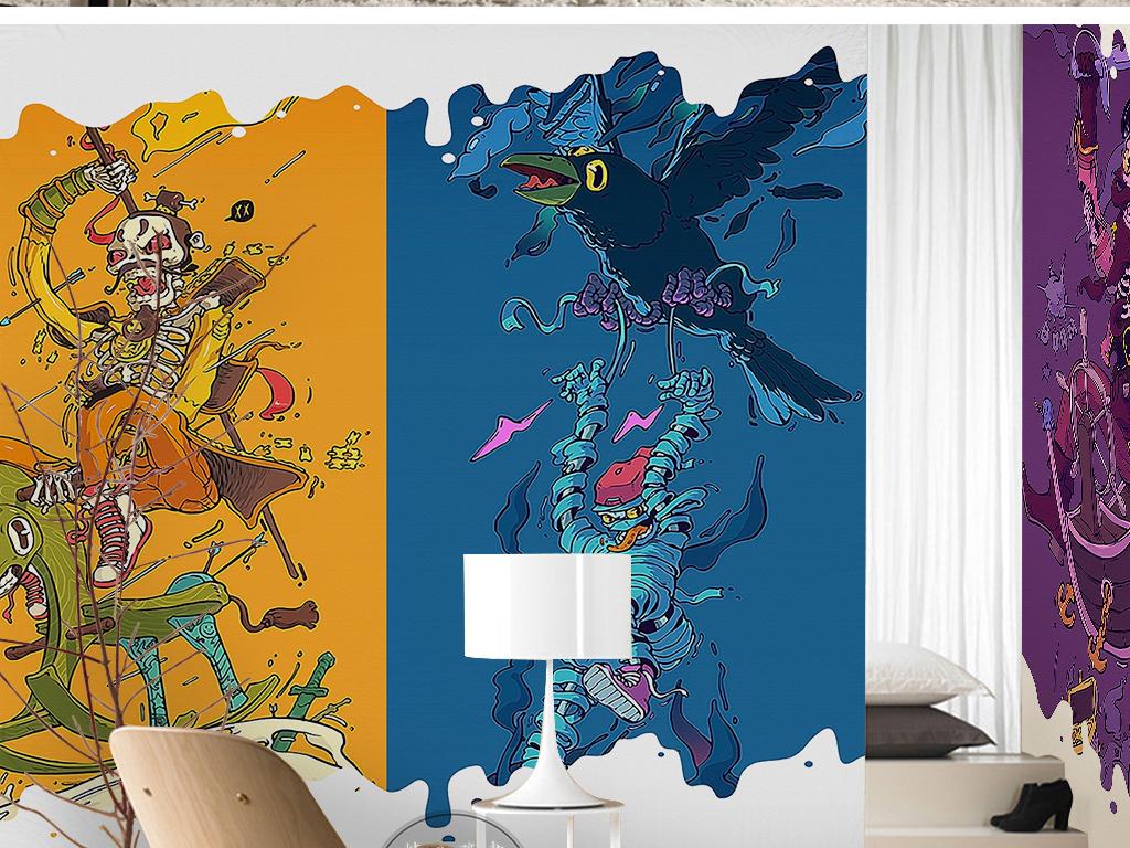蓝色海底世界骷髅小丑涂鸦手绘儿童背景墙