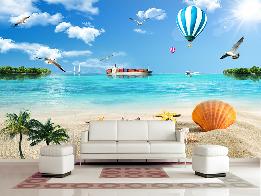 风景画蓝天白云大海椰树风景壁画