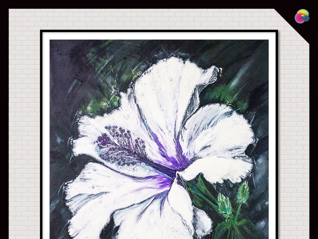 手绘简约百合花植物花卉水彩插画无框画