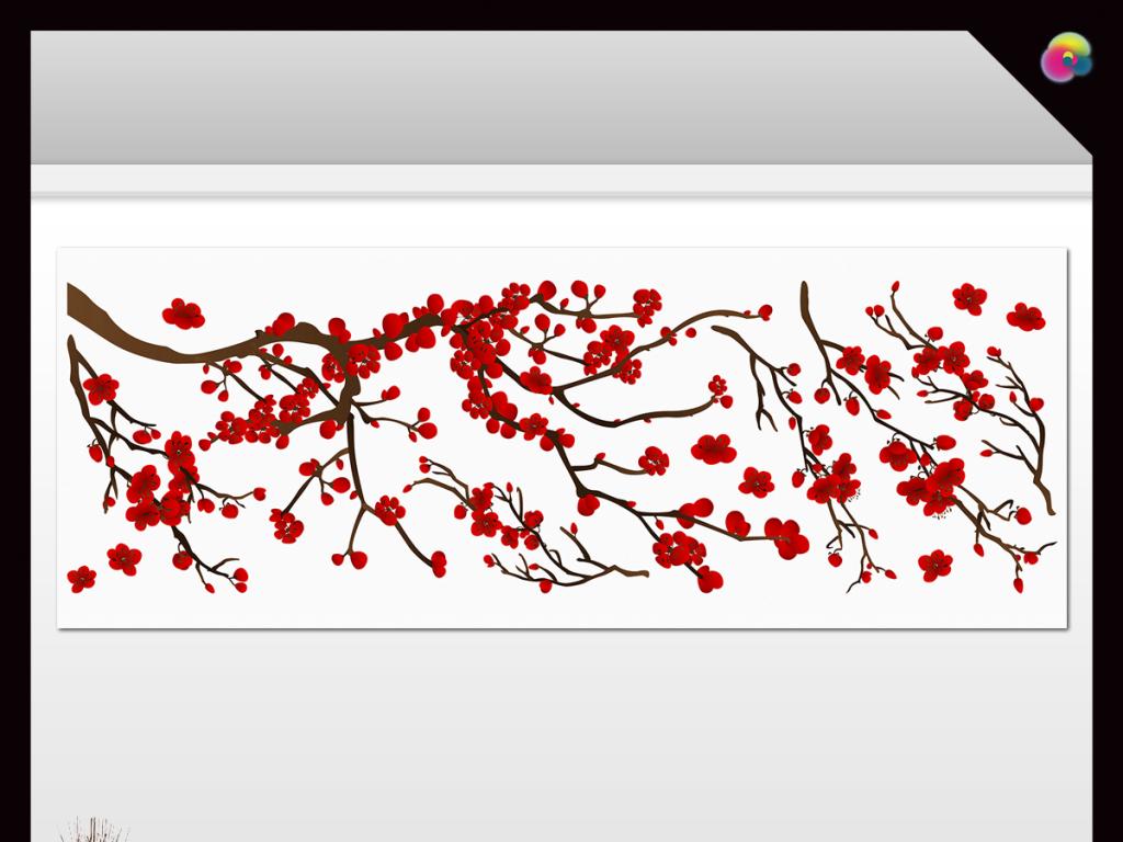 现代简约新中式高清手绘花鸟背景墙壁画