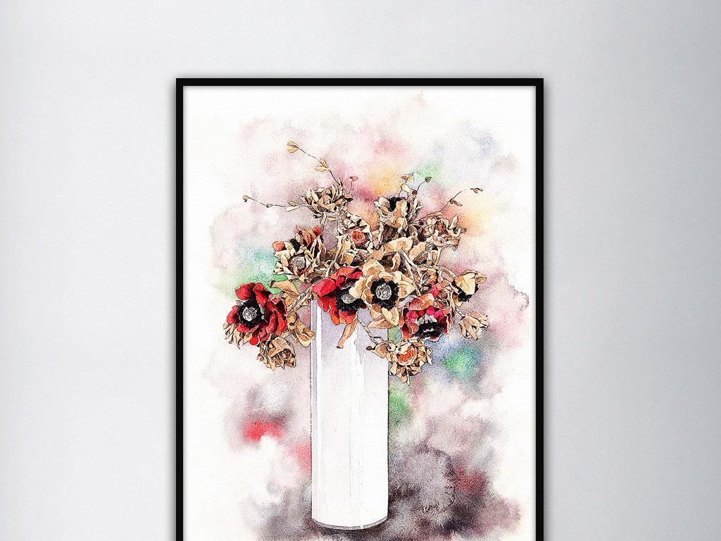 枯叶菊花卉日韩手绘现代清新小资家居装饰画