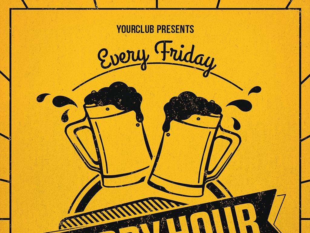 psd)                                  酒吧宣传海报手绘黑板体