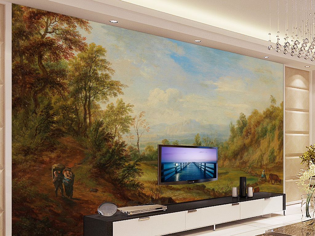 风景油画秋季田园风光电视背景墙