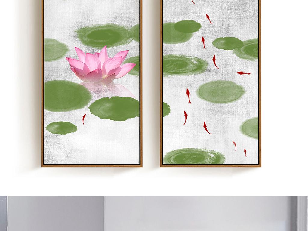 新中式手绘美丽荷塘鲤鱼装饰画无框画