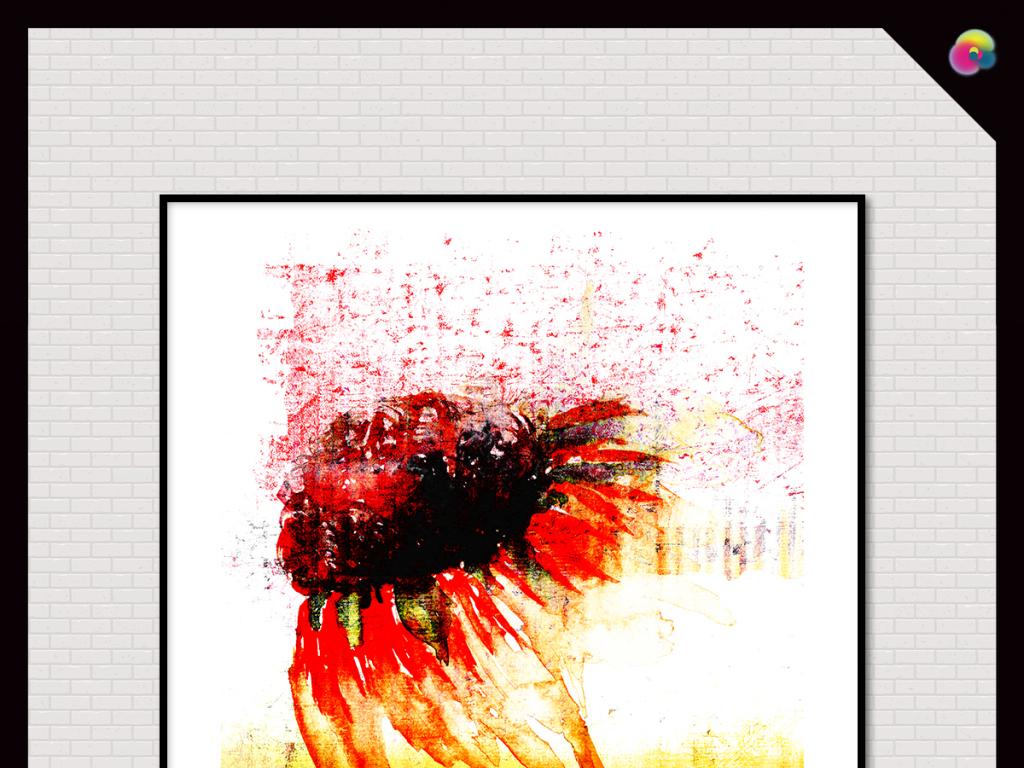 手绘高清花卉插画电视背景墙