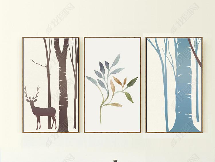 美克美家森林系列装饰画麋鹿森林自然