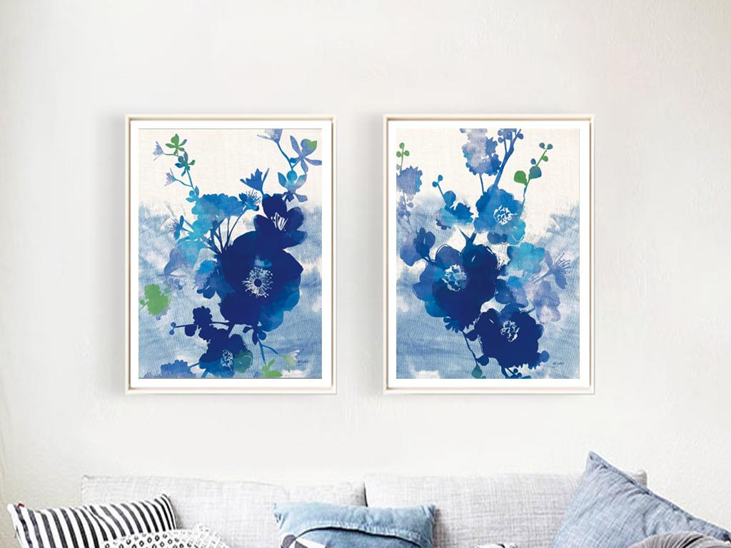 背景墙|装饰画 无框画 植物花卉无框画 > 蓝色清新水彩花卉
