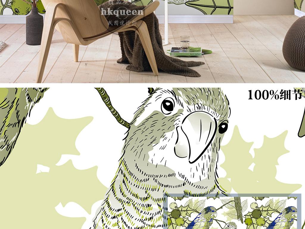 欧式复古手绘鹦鹉树枝樱桃山楂墙纸壁画