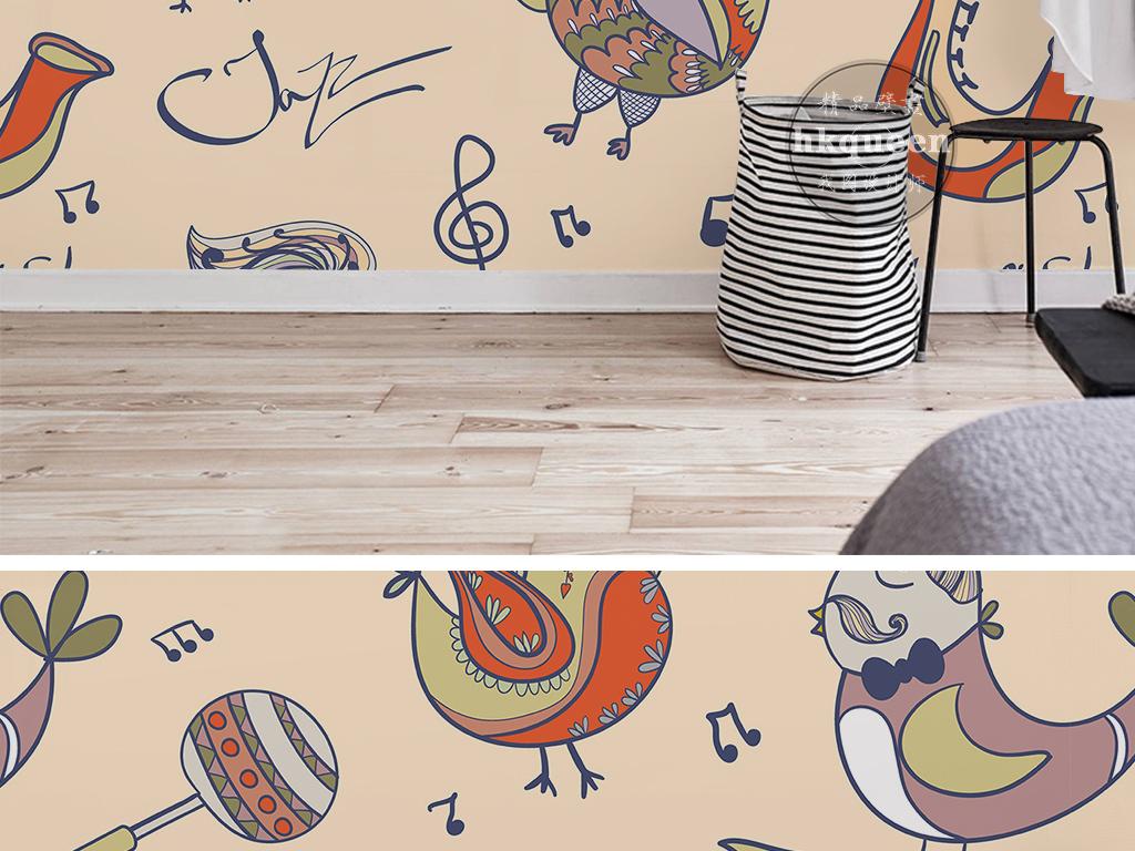 简单图案素雅时尚蓝色壁纸手绘壁纸手绘图案手绘复古简约时尚古典高贵