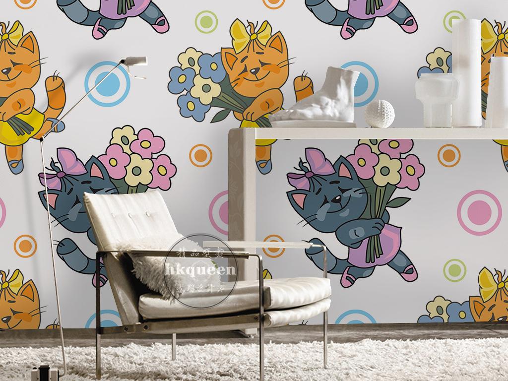 蓝色壁纸手绘壁纸手绘图案手绘复古