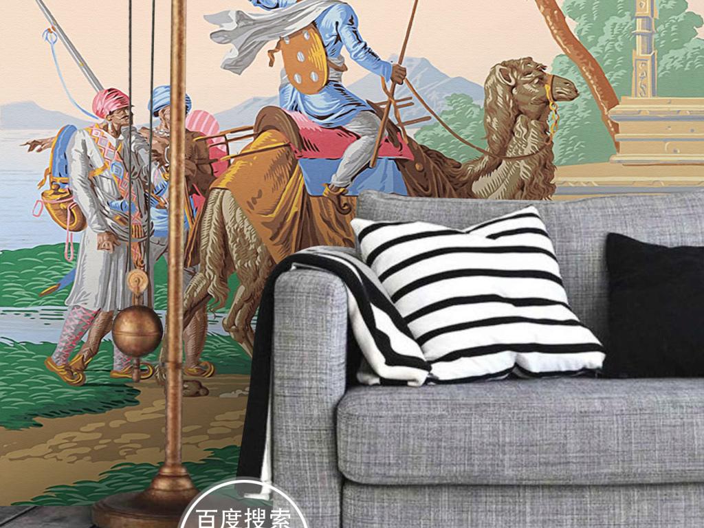 欧式手绘中世纪骑骆驼的士兵壁画玄关背景墙