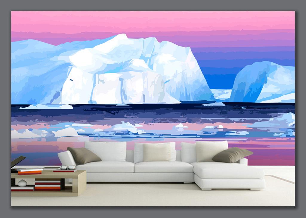 背景墙|装饰画 电视背景墙 手绘电视背景墙 > 手绘冰山风景壁画