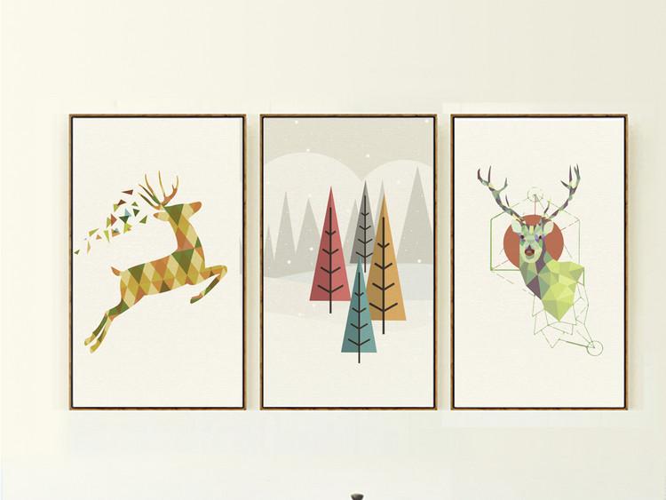 美克美家麋鹿几何抽象装饰画抽象画