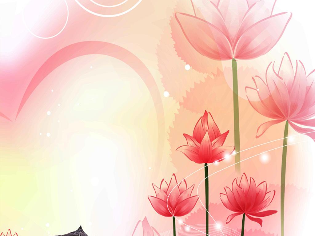 唯美手绘莲花浪漫玄关壁画