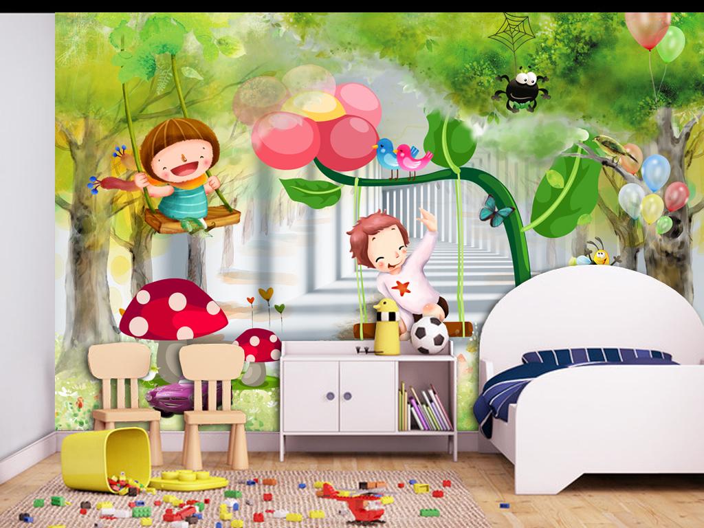 3d梦幻儿童房3d卡通儿童房壁画