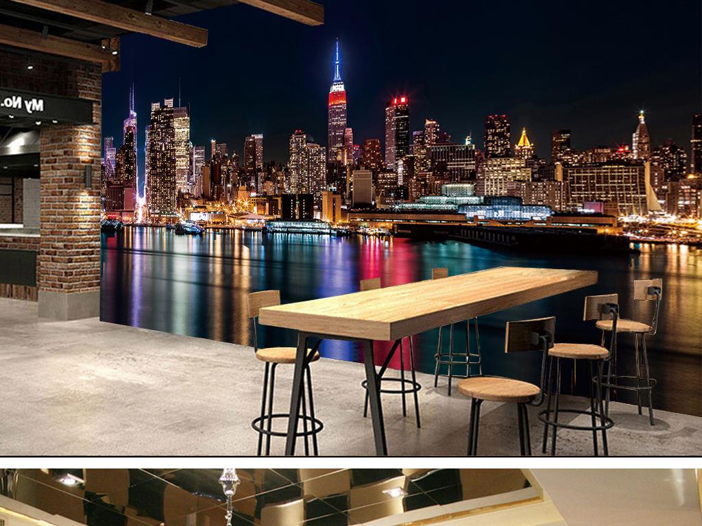 (高清)纽约夜景城市夜景手绘抽象