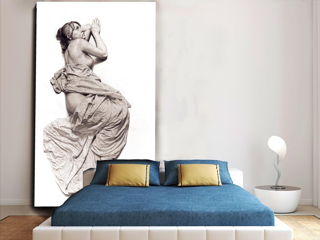 欧美人物手绘素描超高清无框装饰画