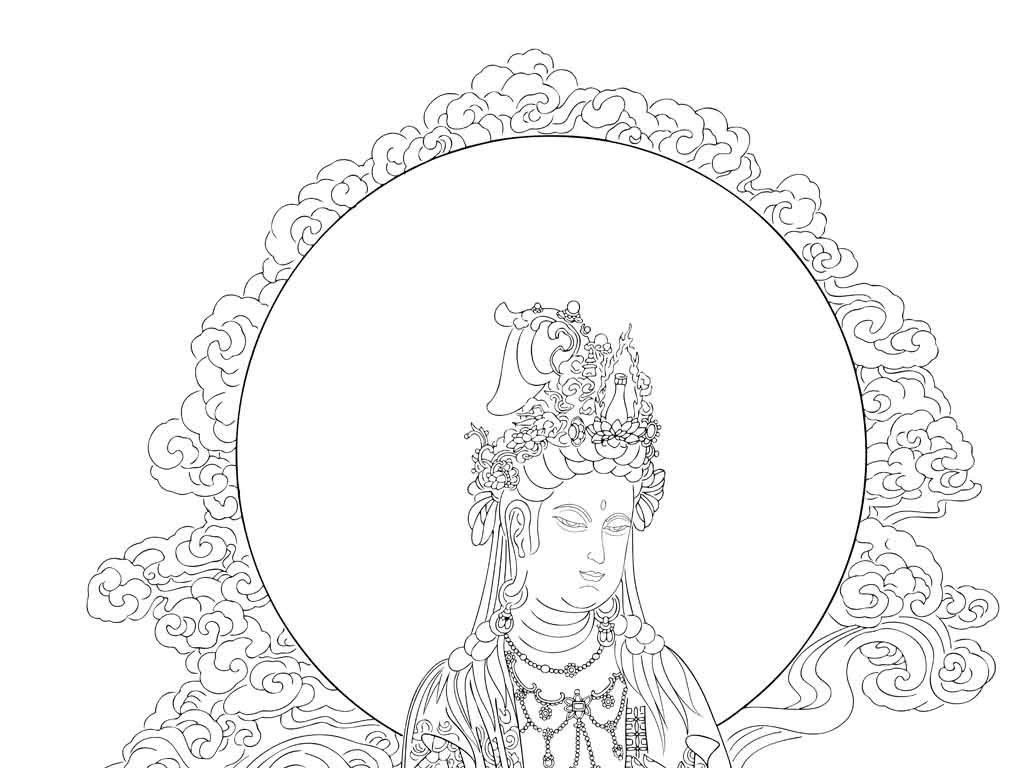 佛装饰图案手绘