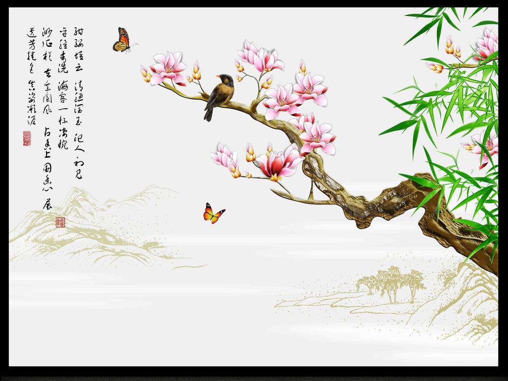 背景墙 电视背景墙 彩雕电视背景墙 > 手绘玉兰花鸟浮雕电视背景墙