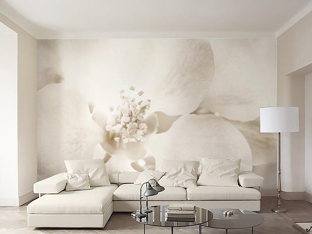 北欧极简风格静谧花朵电视背景墙