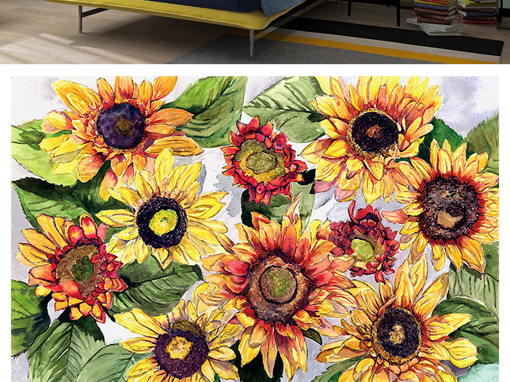 复古热烈手绘油画风格向日葵背景墙壁画