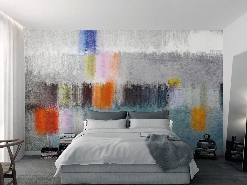 北欧极简风格间色卧室床头电视背景墙图片