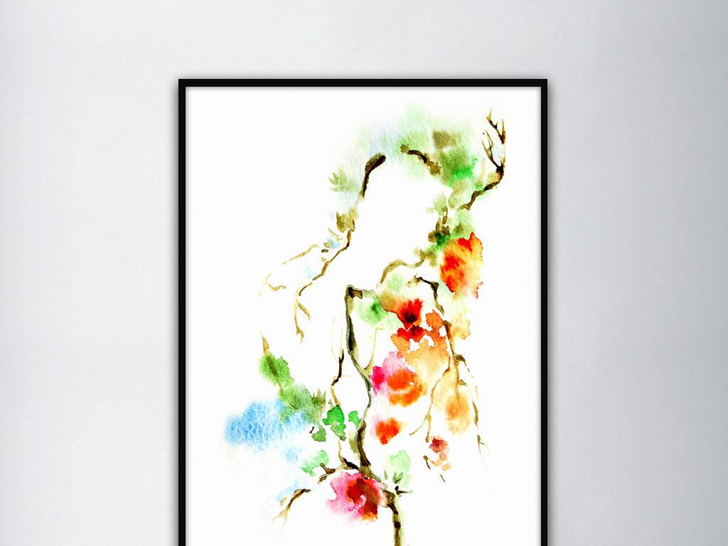 花卉藤蔓缠绕之美小清新手绘水彩简约装饰画