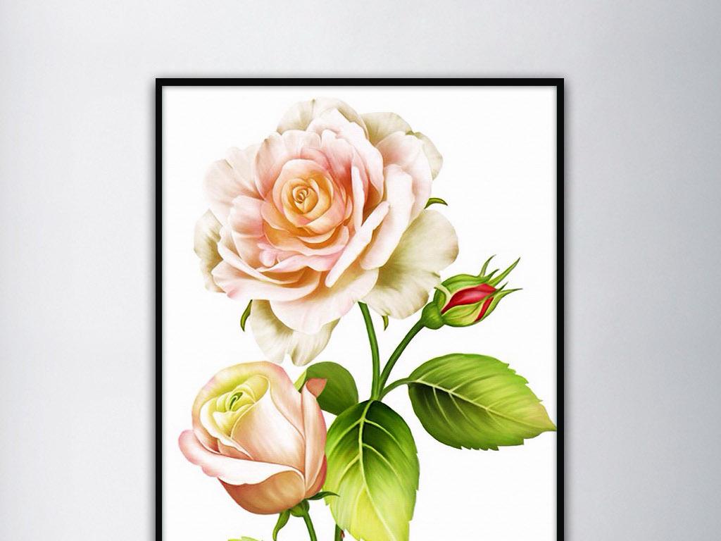 手绘玫瑰花清新唯美优雅气质现代家居装饰画