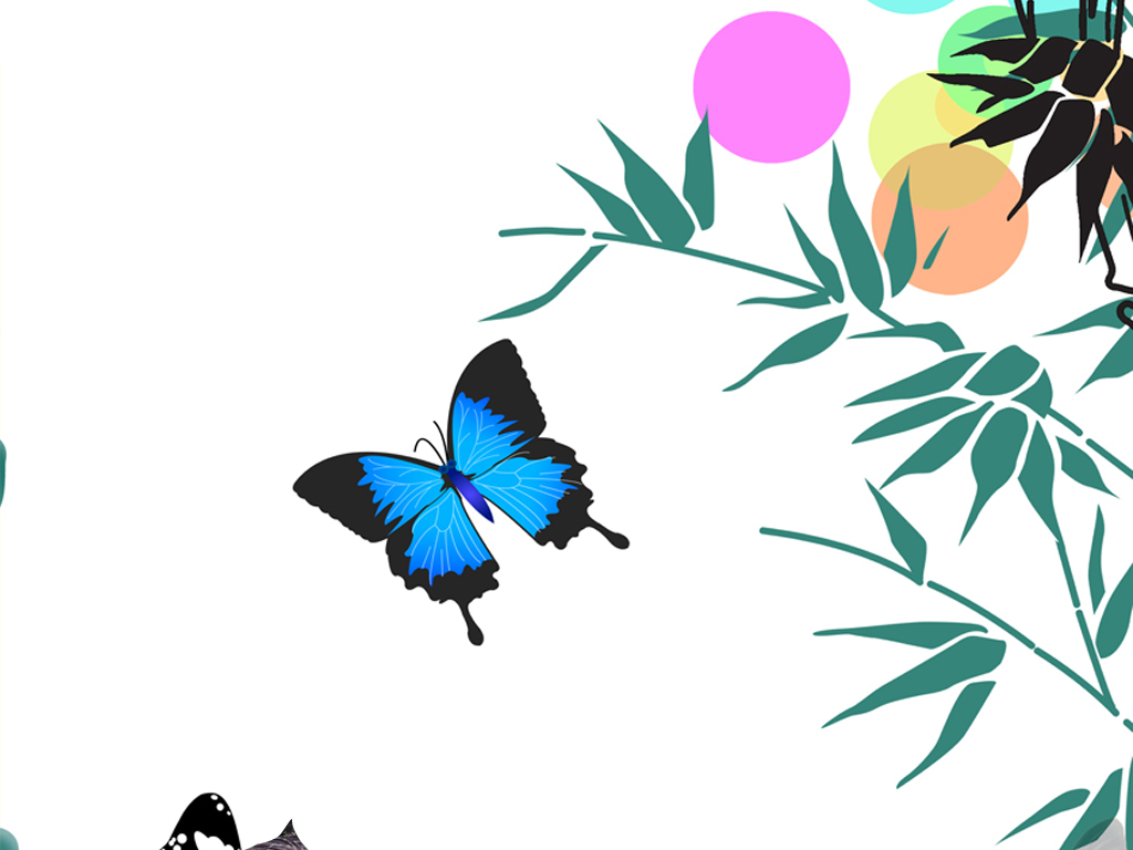 蝴蝶荷叶竹子简约手绘墙纸玄关图