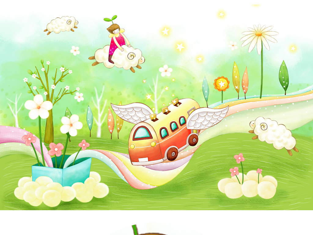 儿童房墙纸韩国插画儿童插画人物插画时尚插画卡通插画插画设计插画网
