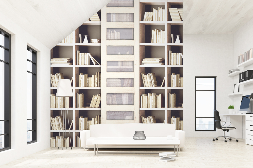 欧式风格美式风格时尚书架简欧简约流行壁画书架梯子