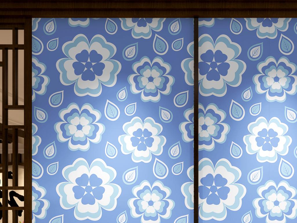 简约手绘植物花卉墙纸