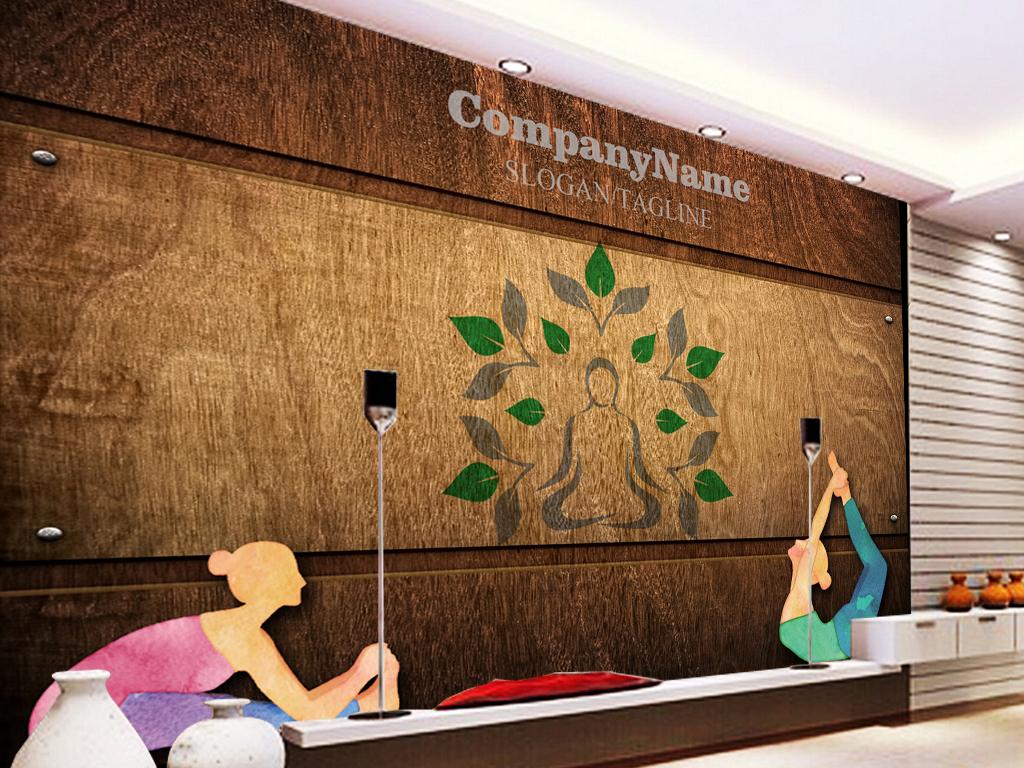 复古木板墙壁瑜伽训练工装背景墙