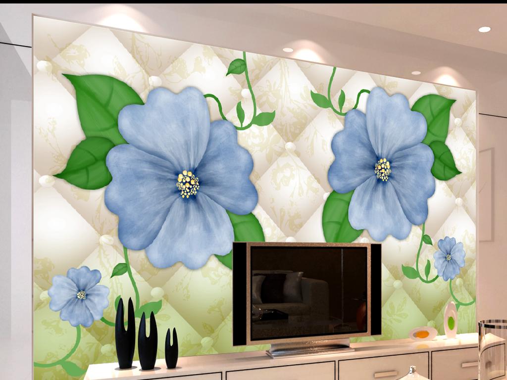 背景墙 装饰画 电视背景墙 3d电视背景墙 > 简约淡雅手绘蓝色花朵花藤