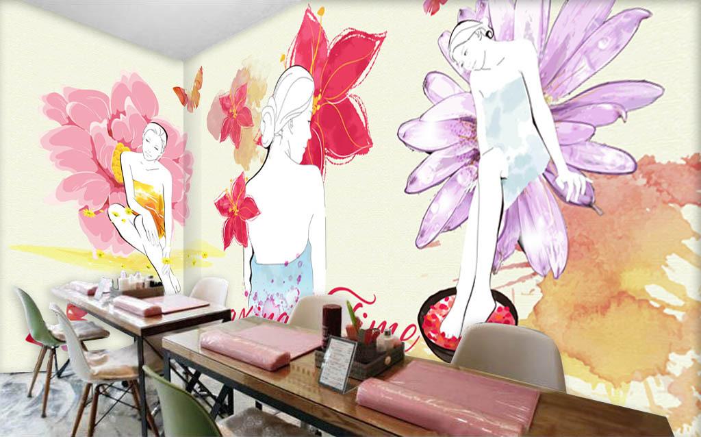 手绘水彩美女美容店化妆品店背景墙
