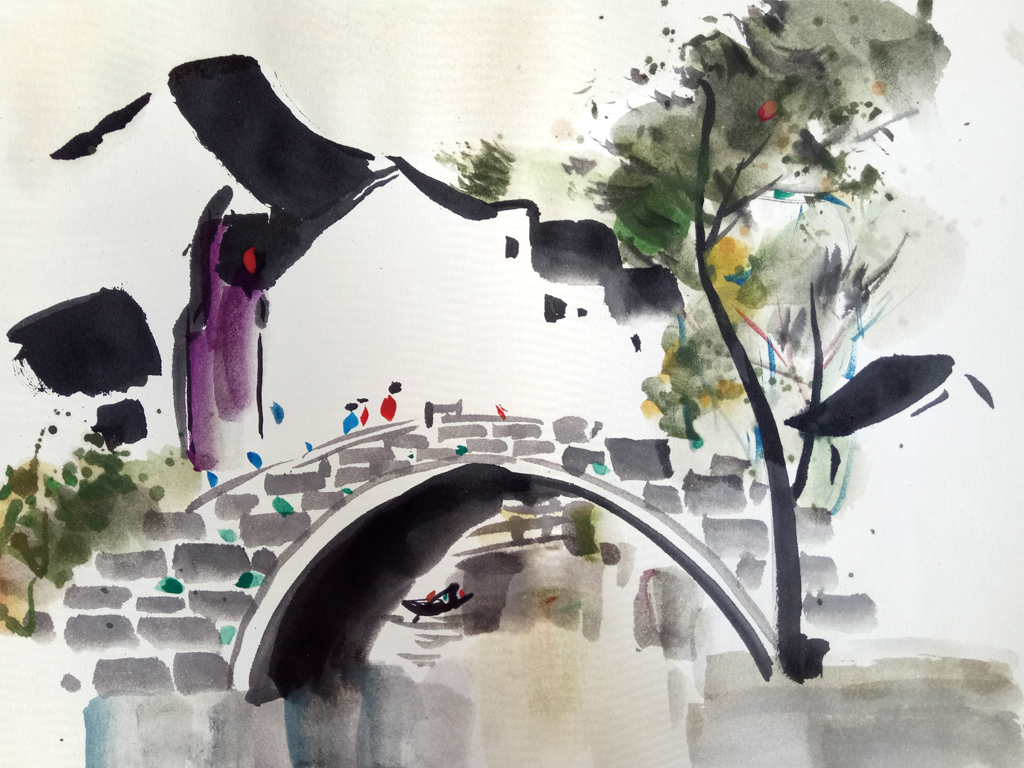 手绘江南水乡墙纸装饰画