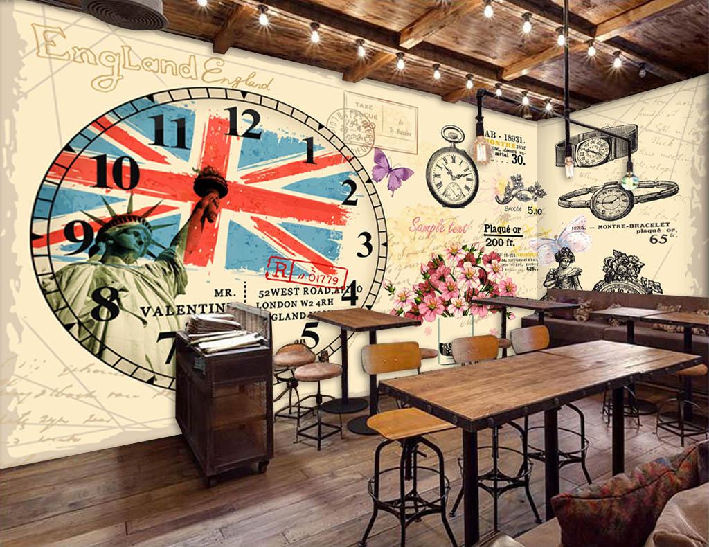 欧美复古手绘伦敦怀表酒吧咖啡店背景墙图片设计素材