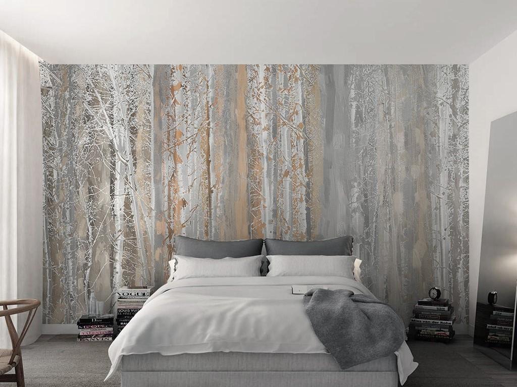 床头背景墙装修效果图大型壁画