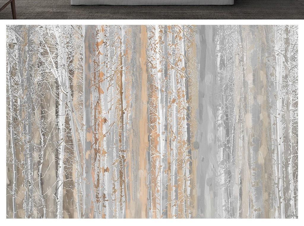 素色纹理树林北欧风格电视背景墙图片