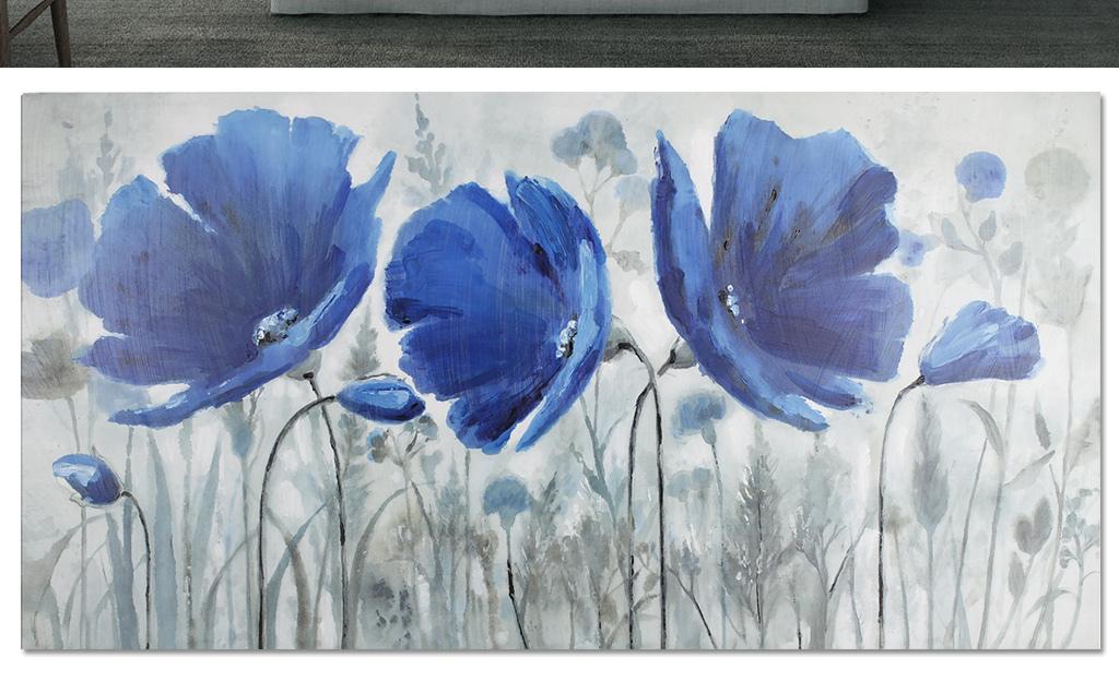 电视背景墙 手绘电视背景墙 > 蓝色油画花卉电视床头背景墙  版权图片