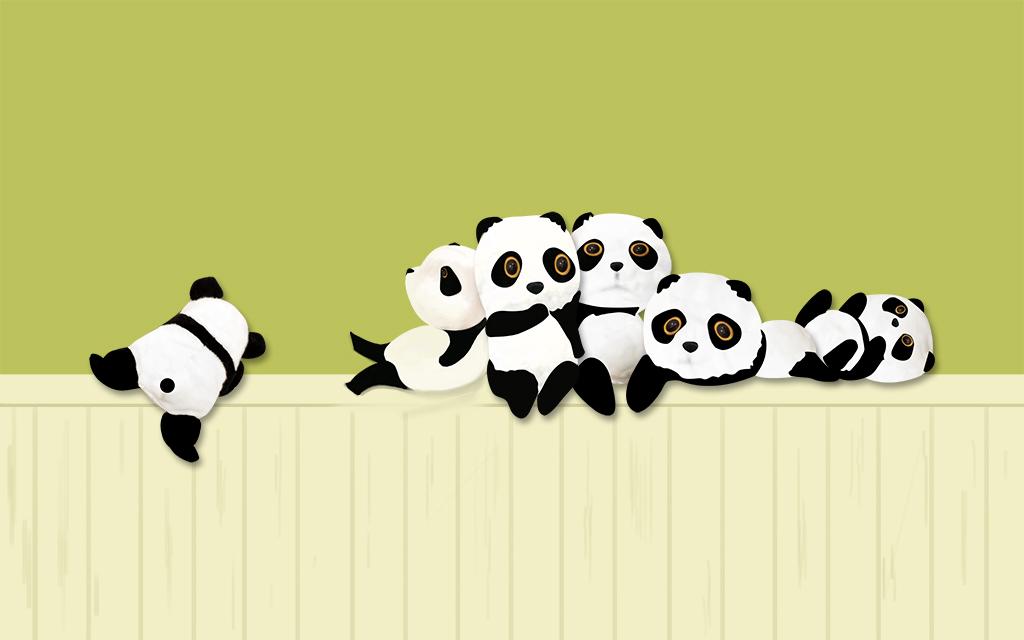 手绘熊猫卡通电视背景墙装饰画