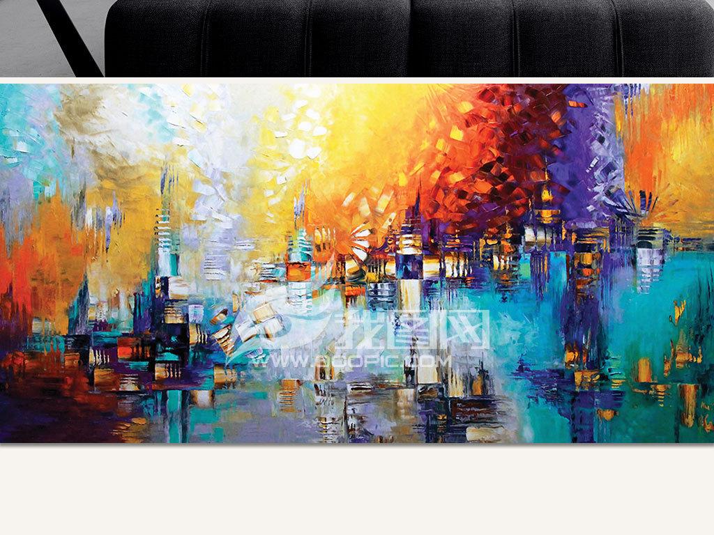 手绘抽象城市油画刀画装饰画no553