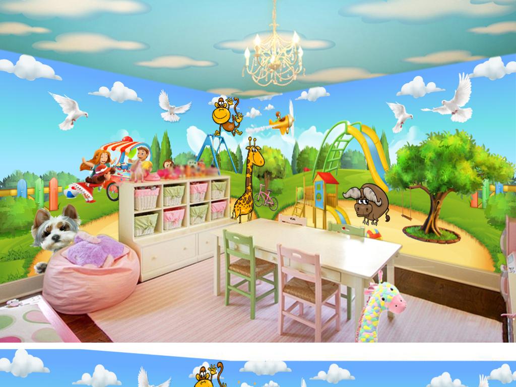 3d儿童房壁纸幼儿园壁纸动物世界背景墙