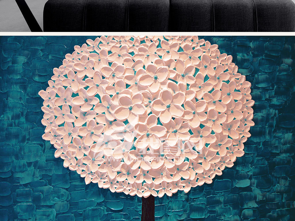油画 立体油画电视背景墙 > 白色发财树摇钱树手绘刀画装饰画no582