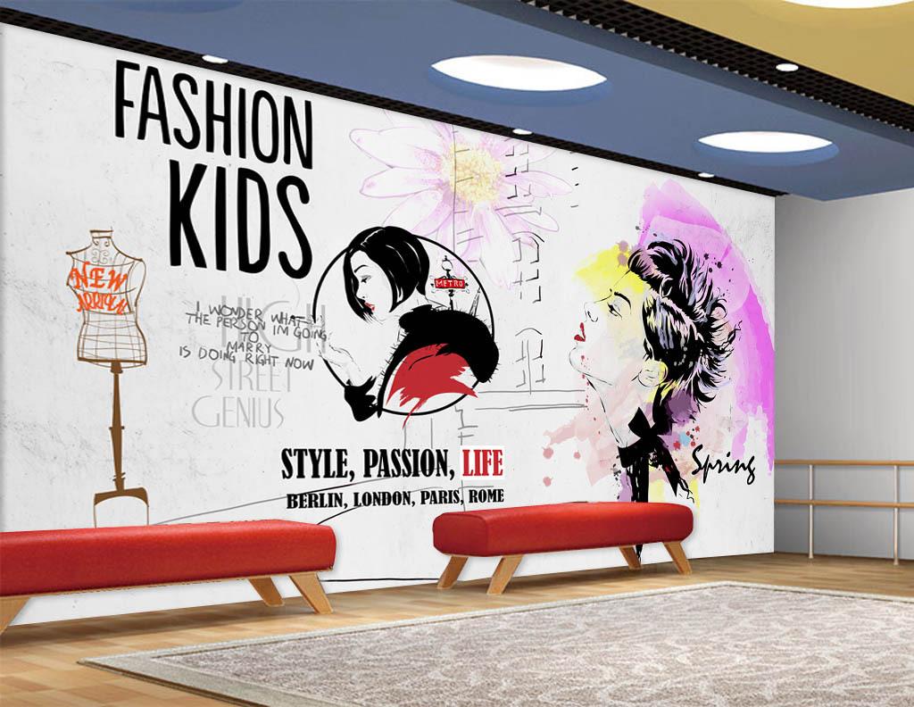 手绘水彩美女服装店美容店背景墙