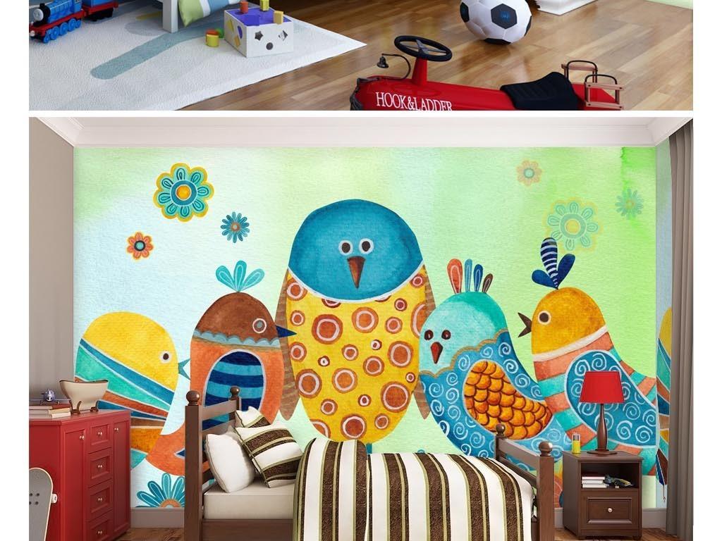 手绘水彩漂亮的小鸟一家儿童房背景墙