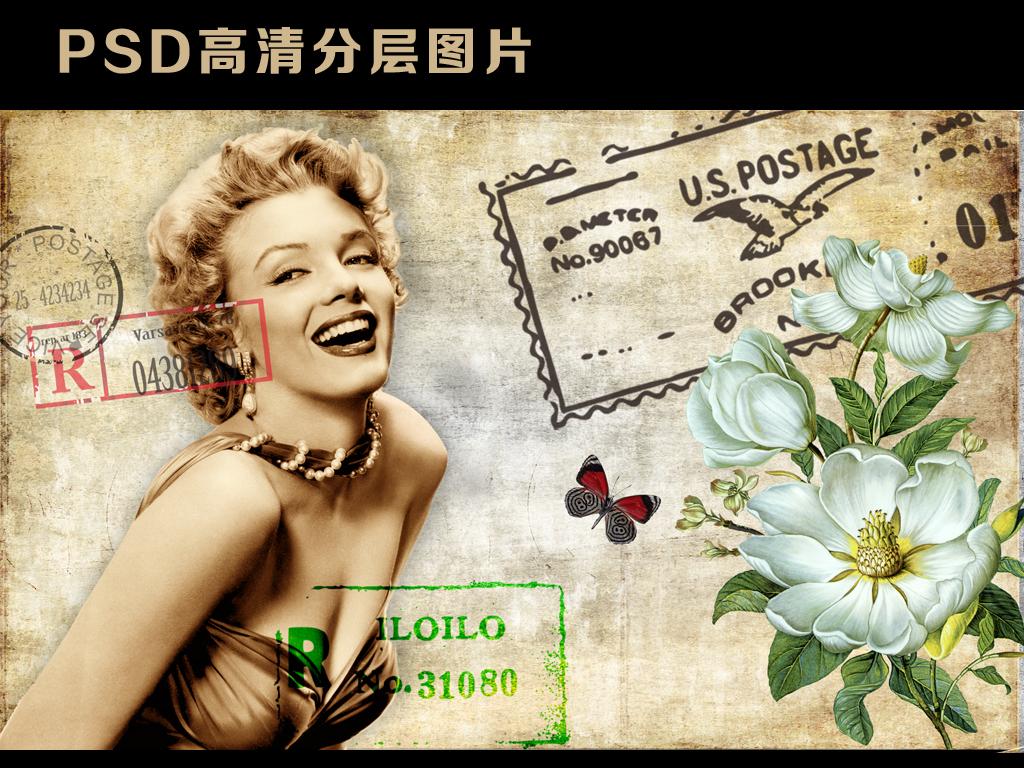 梦娜明星花卉欧式复古工装背景墙