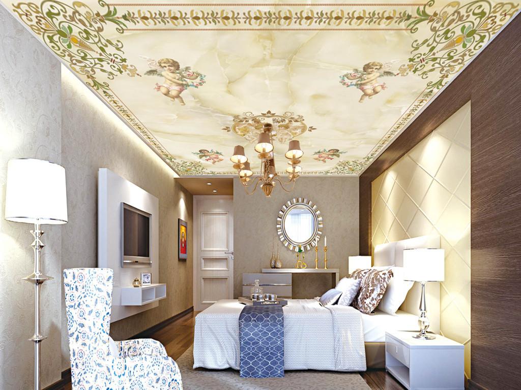 中世纪欧式天使天顶壁画天花板吊顶设计模板