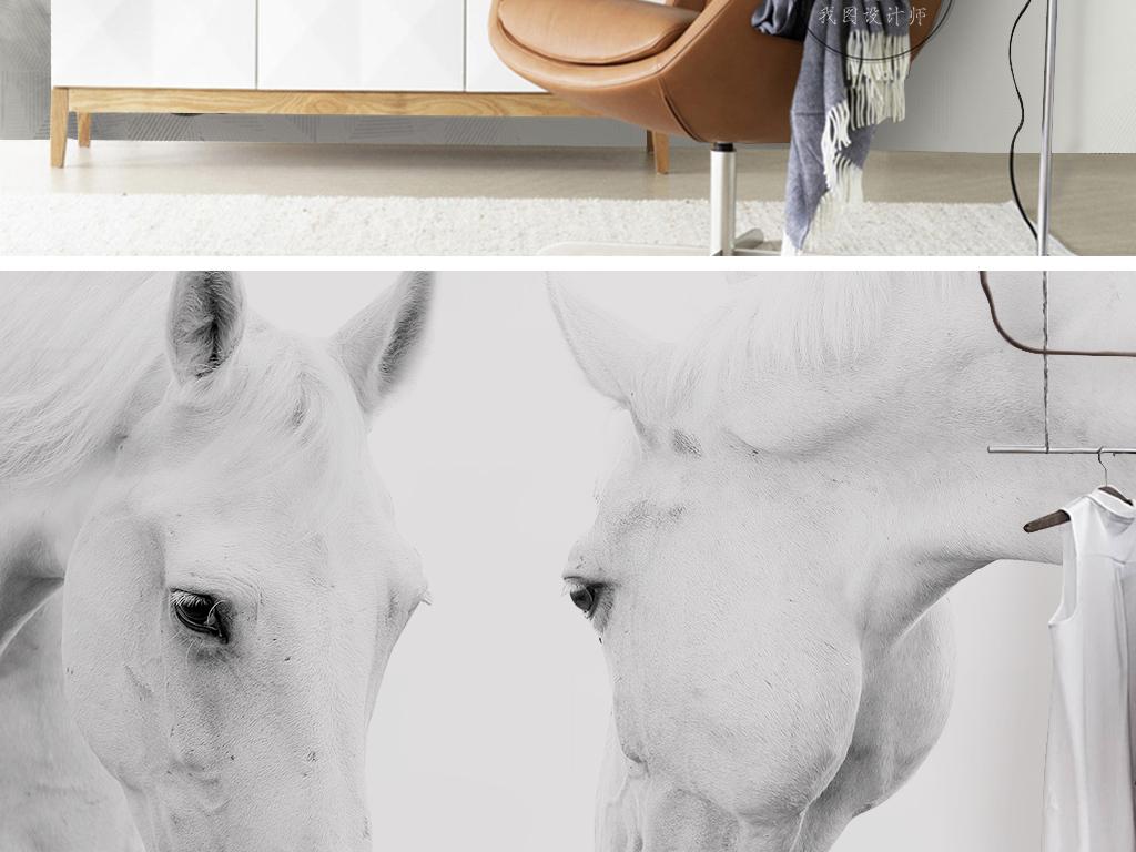 壁纸手绘图案手绘复古简约时尚古典高贵大气欧式花纹墙纸白马王子白马