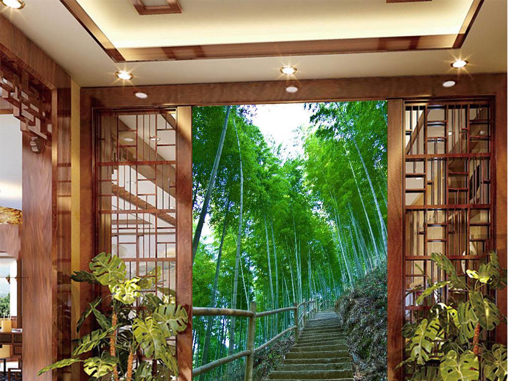 手绘墙画沙发背景墙竹林深处竹林风景图片竹林图片竹林深处图片雨竹林